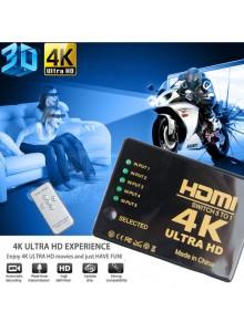 מפצל HDMI 4K אוטומטי 5 כניסות עם שלט *+במלאי*