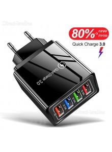 מטען קיר פרימיום 4 יציאות לטעינה USB MicroDrive המהיר ביותר בטכנולוגיית QUICK CHARGE