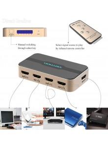 מפצל HDMI 4K 5 in 1 Out עם שלט מוגבר עם ספק כח USB