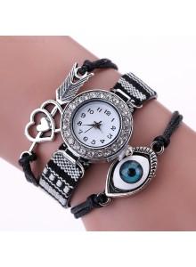 שעון אופנתי אתני רצועת בד עם קישוטי עין חץ ולב משובץ קריסטלים דגם 7711774