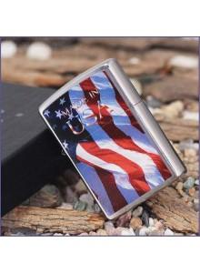 מצת זיפו Zippo 24797 USA Flag-Made in USA Brushed Chrome Finish *במלאי מיידי*