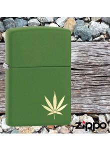 מצית זיפו Zippo 29588 Laser Engraved Gold Marijuana Leaf *במלאי מיידי*