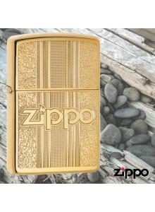 מצית זיפו Zippo 29677 Brass With Ornate Pattern Zippo Logo *במלאי מיידי*