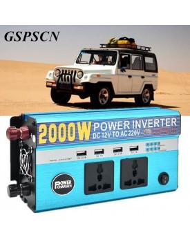 ממיר מתח בהספק 800W / 2000W הספק עבודה קבוע עם 4 USB ו-2 שקעים לרכב בחיבור למצבר או המצת