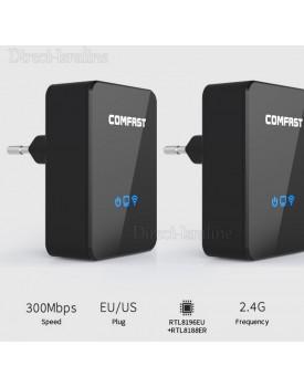 שתי יחידות Repeater חכם ומהיר המשמש כמגדיל טווח, ראוטר, COMFAST CF-WR300N AP-Access Point