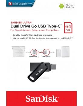 SanDisk SDDDC3-064G 64GB Ultra Dual Drive Go USB 3.1 Type-C *במלאי מיידי*