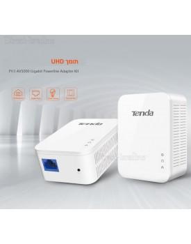 מתאם רשת על חשמל 1000Mbs 2 יחידות - Powerline Homeplug Tenda PH3 *במלאי מיידי*