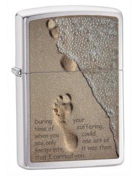 מצת זיפו Zippo Footprints Brushed Chrome *במלאי מיידי*